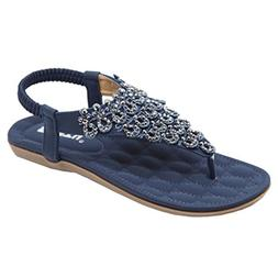 Women Flat Shoes Bead Bohemia Lady Slippe Sandals Peep-Toe O
