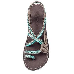 Plaka Flat Sandals for Women Turquoise Gray 9 Palm Leaf