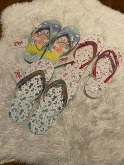 JUSTICE FLIP FLOPS GIRLS SIZE 2/3 LOT OF THREE NEW