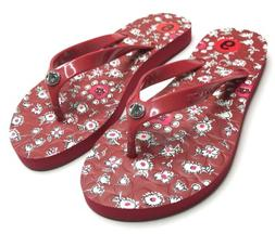Coach Flip Flops NEW Women Size 5-6 Red Flower Thong Sandals