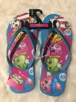 Shopkins Flip Flops Sandals Blue Glitter Strap Girls Size 2