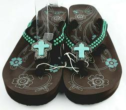 Montana West Flip Flops Sandals Brown Turquoise Cross Concho