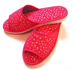flip flops shoes slippers flowery fabric summer red white la