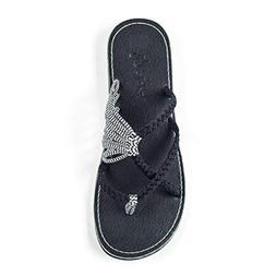 Plaka Flip Flops Slide Sandals for Women Black Zebra 9 Ocean