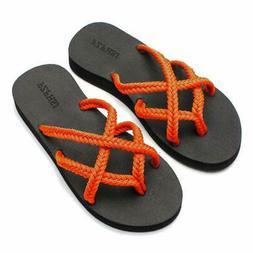 FZFHSJ Flip-Flops Summer Comfortable Beach Braided Strap San