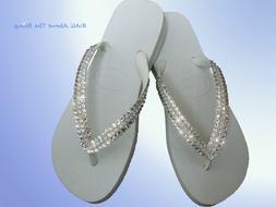 Havaianas flip flops white with OPAL Swarovski Crystals Rhin