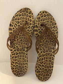 Crocs Flip Flops Wm Sz 11 , Leopard Print