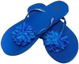 Flip Flops Womens Pool Beach Shoes with Flower Pattern- Flor
