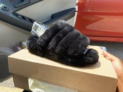 UGG Fluff Yeah Slide Black Fur Slipper Sandal Women's US siz