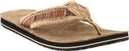 Sanuk Men's Fraid So Flip Flop,Red/Brown,7 M US