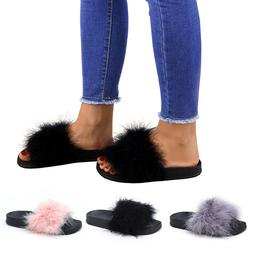 Fuzzy Slippers Flip Flop Fluffy Sliders Fur Sandals For Wome