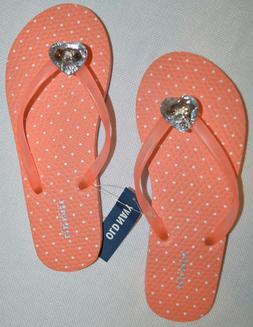 Girl's Old Navy Coral Peach Dot Jewel Heart Slip On Flip Flo