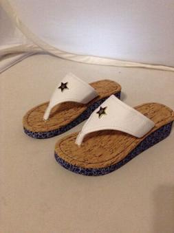Tommy Hilfiger Girls Flip Flops White Size 13 Style Joe Star