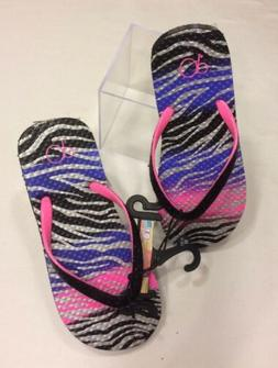 Girls Flip Flops ZEBRA STRIPE Purple Pink Silver BLACK GLITT