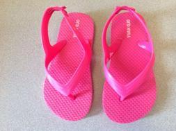 Old Navy Girls Kids Pink Flip Flops With Back Strap Size 9
