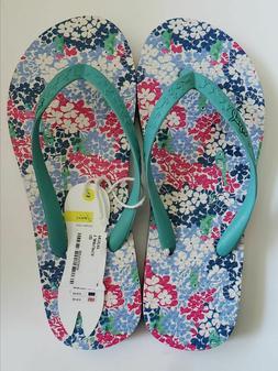 girls size 3 youth flip flops floral