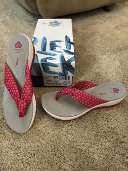Clarks Glison Arla Wedge Platform Flip Flops NEW  Rose Pink