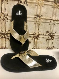 Corky's Gold Flip Flops Women Size 9