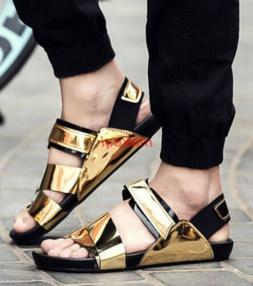Gold Mens Boy Open Toe Flat Hollow Sandals Loafers Casual Sh