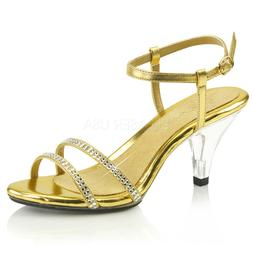 Gold Rhinestone Low Heels Sandals Drag Queen Bridesmaid Woma