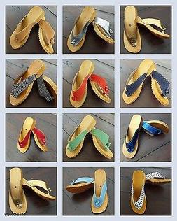 HAND MADE WOODEN & LEATHER SANDALS CLOGS FLIP FLOPS  for Wom