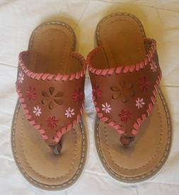 Hanna Anderson Girls Flip Flops, Tan w Pink Lacing & Embroid