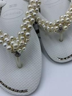 Havaiana flip flops White with rhinestone jewelry  US size 9