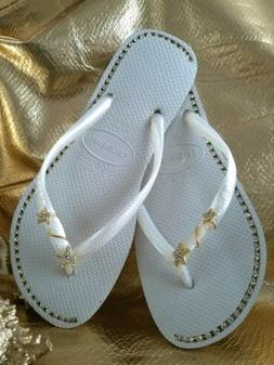 Havaiana flip flops White with rhinestone jewelry  US size 3