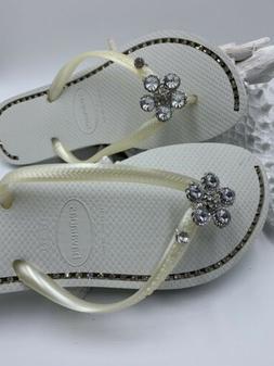 Havaiana flip flops White with rhinestone jewelry  Silver Fl