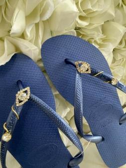 Havaiana flip flops with Rhinestone Blue US 6w