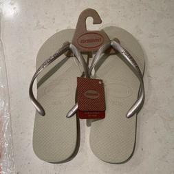 Havianas Flip Flops Womens, Sand Grey/Light Gold Size 7/8