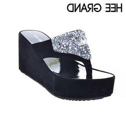 HEE GRAND Brand Women Sandals Flat With Rhinestones Flip Flo
