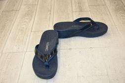 Vionic High Tide Platform Flip Flops, Women's Size 6, Navy N