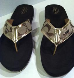 Coach JAYE Sandals Brown Signature Gold Flip Flops Shoes Siz