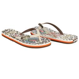 Ed Hardy Jungle Flip Flop for Women -Off White