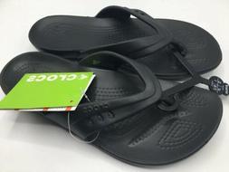 CROCS Kadee Flip Flop Sandals, Women's Size 7 Black NWT FREE