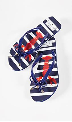 Kate Spade Lobster Striped Navy White Blue Flip Flops Size 5