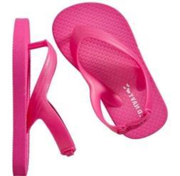 Old Navy Kid girl hot pink  flip flop slipper shoe with back