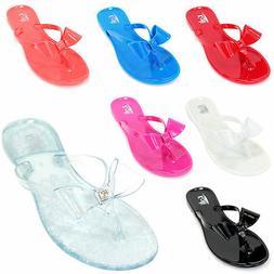 Kids Girls Jelly Flip Flops Bow Ribbon Thong Flat Summer Bea