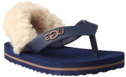 UGG Kids' I Yiayia Flip Flop, Medieval Blue/Chestnut, 4/5 M