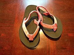 Kids Rainbow Sandals Sandiva Glitter Flip Flops Pink 5/6 w/