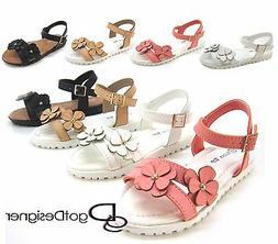 Kids Youth Girls Sandals Cute Shoes Floral Flip Flops Buckle