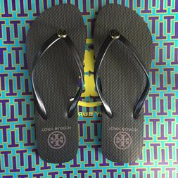 L@@K!  Size 7 New Tory Burch Thin Strap Flip Flops Black Fla