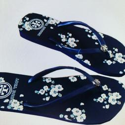 L@@K  Size 6 NEW Tory Burch Printed Floral Navy Cream Flat F