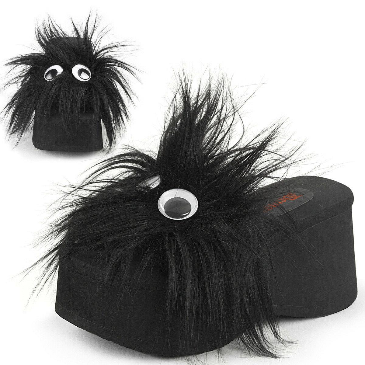black platform furry monster alien flip flops