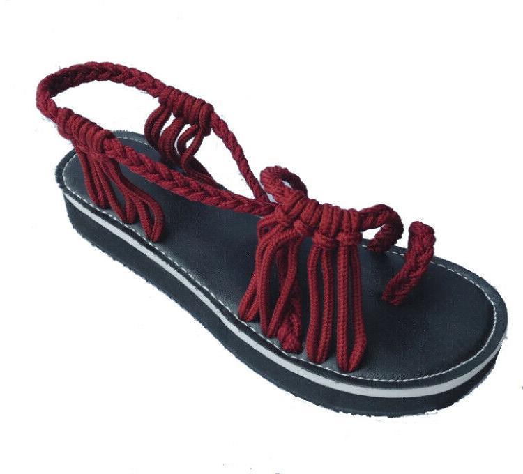 Bohemian Flat Flip Flops Bandages Beach Shoes Summer Casual Womens