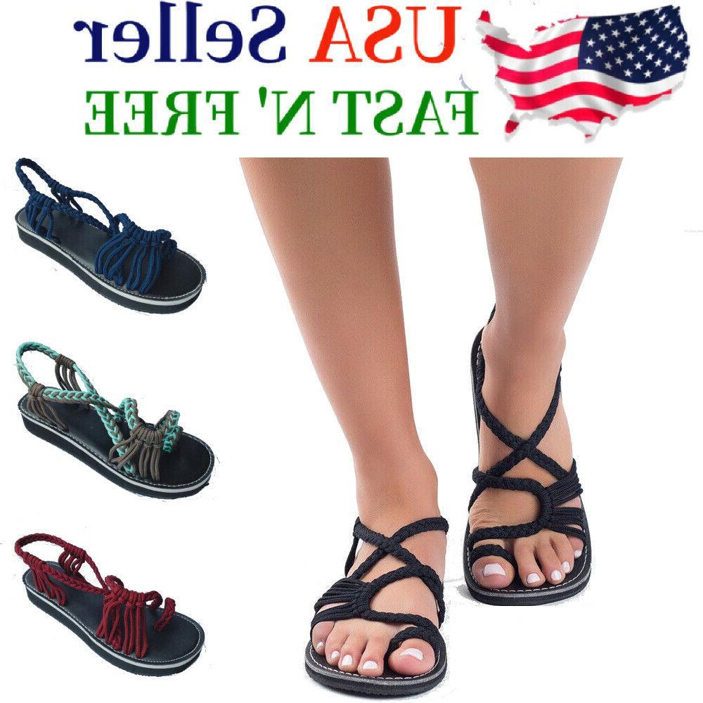 bohemian flat flip flops bandages beach shoes