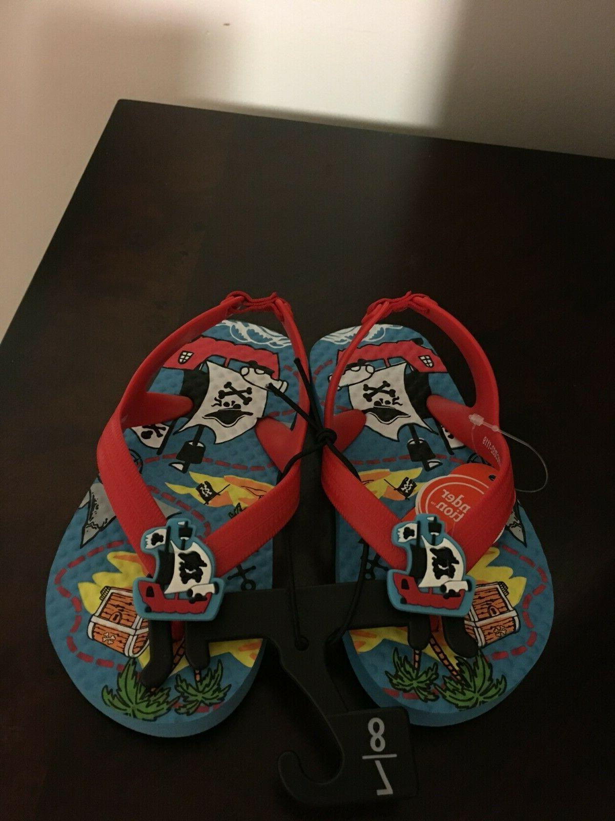 BRAND NEW SIZE 7-8 PIRATE FLIP FLOPS WITH BACK STRAP