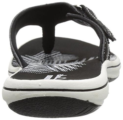 Clarks Breeze Flip Flop, New Black Synthetic, 8