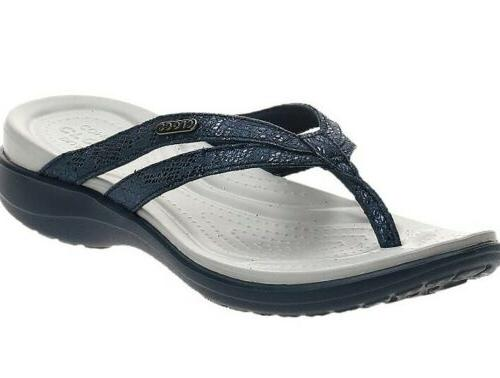 capri strappy flip flops sandals blue metallics
